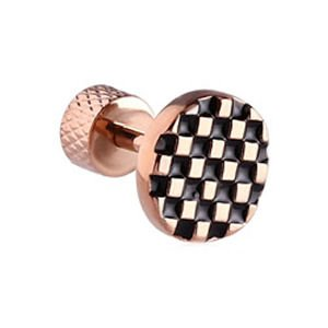 Rose Gold Tragus Barbell Stud- Chequered Button