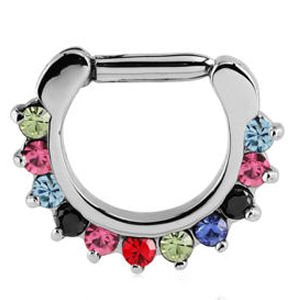 Round Prong Set Jewelled Hinged Septum Clicker - Multi Coloured