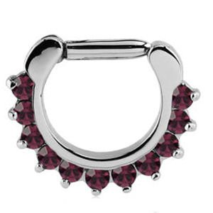 Round Prong Set Jewelled Hinged Septum Clicker - Purple