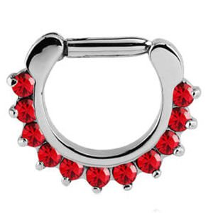 Round Prong Set Jewelled Hinged Septum Clicker - Red