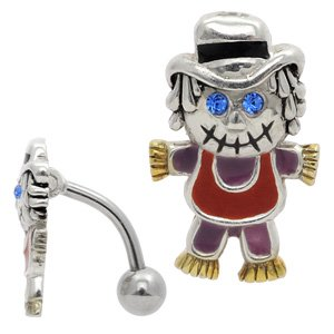 Reverse Silver and Steel Belly Bar - Zombie Scarecrow