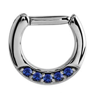 Septum Piercing Jewelled Hinged Clicker Ring - Blue