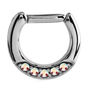 Septum Piercing Jewelled Hinged Clicker Ring - Crystal AB