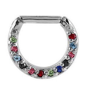 Septum Piercing Jewelled Hinged Clicker Ring - Multi Coloured