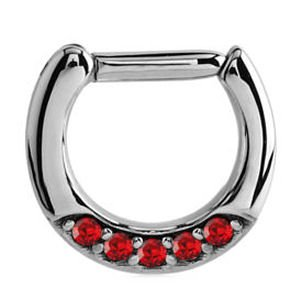 Septum Piercing Jewelled Hinged Clicker Ring - Red