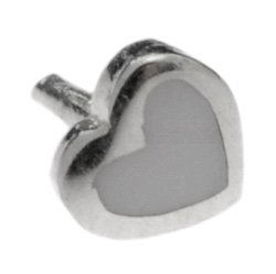 Silver Push-Fit Heart - White Small