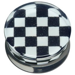 PMMA Double Flared Silhouette Plug - Black and White Check