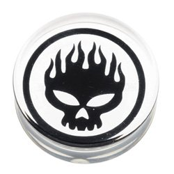 PMMA Double Flared Silhouette Plug - Flaming Skull
