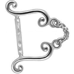 Silver & Bioplast Eyebrow Bar - Chain Swirls