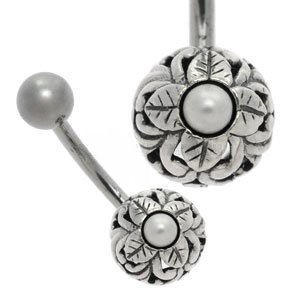 Silver and Steel Ball Belly Bar - Pearl Flower Ball