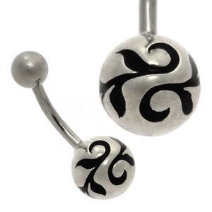 Silver and Steel Ball Belly Bar - Vine Ball