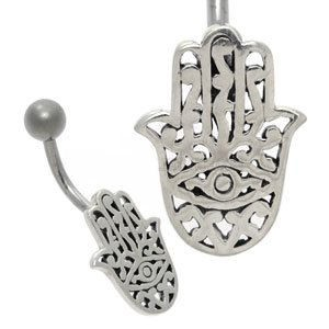 Silver and Steel Belly Bar - Hamsa Hand