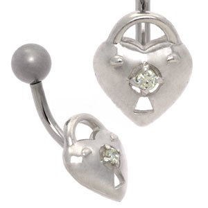 Silver and Steel Belly Bar - Heart Padlock