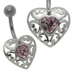 Silver and Steel Belly Bar - Lilac Heart