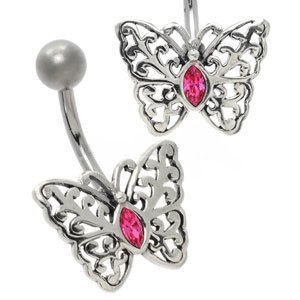 Silver and Steel Belly Bar - Pink Butterfly