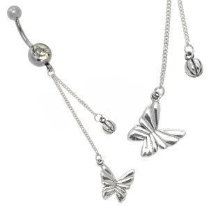 Silver and Steel Charm Belly Bar - Butterfly