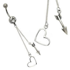 Silver and Steel Charm Belly Bar - Cupid Heart