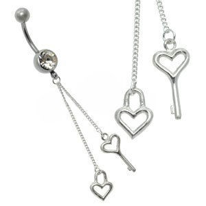 Silver and Steel Charm Belly Bar - Heart Keys