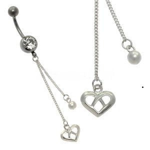 Silver and Steel Charm Belly Bar - Open Heart