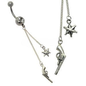 Silver and Steel Charm Belly Bar - Sheriff
