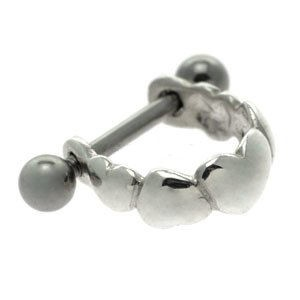 Silver and Steel Mini Helix Cuff - Hearts