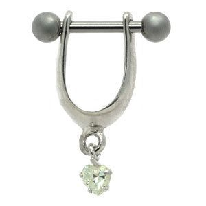 Silver and Steel Mini Helix Shield - Crystal Heart Charm
