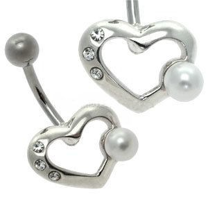 Silver and Steel Pearl Belly Bar - Heart