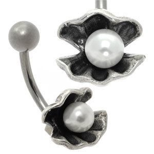 Silver and Steel Pearl Belly Bar - Oyster