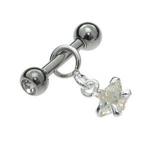 Silver & Surgical Steel Tragus Stud - Star Jewel