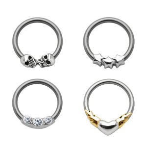 Silver Ball Closure Ring Set