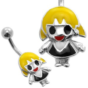 Silver and Steel Belly Piercing Bar - Blonde Doll