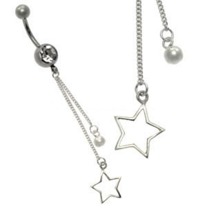 Silver and Steel Charm Belly Bar - Star