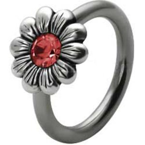 Silver and Steel Daisy Ball Closure Ring - Red