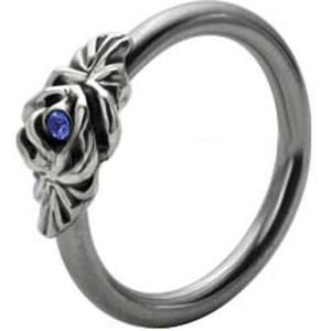 Silver and Steel Floral Ball Closure Ring - Blue