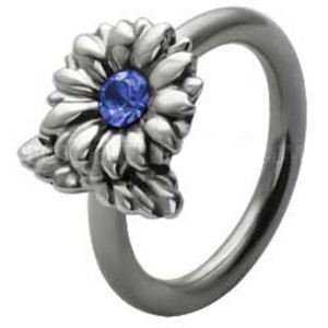 Silver and Steel Flower Ball Closure Ring - Blue
