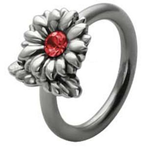 Silver and Steel Flower Ball Closure Ring - Red
