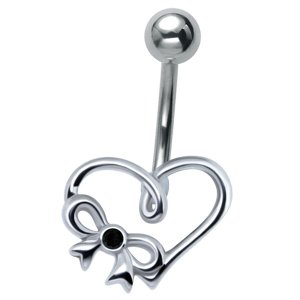 Sterling Silver and Steel Heart Belly Bar - Black
