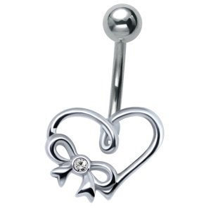 Silver and Steel Heart Belly Bar - Crystal