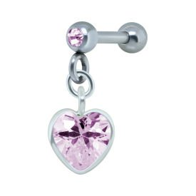 Silver Heart Pink Jewelled Tragus Bar Stud