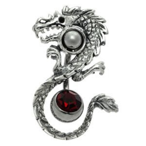 Sterling Silver and Steel Navel Orbital with Free Belly Bar - Dragon