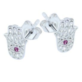 Surgical Steel Pink Jewelled Hamsa Hand Ear Stud