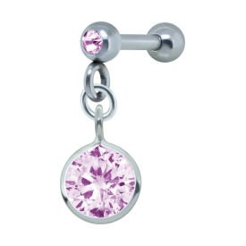 Silver Round Pink Jewelled Tragus Bar Stud