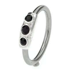 Silver & Steel Jewelled Ball Closure Ring - Black Outward Facing