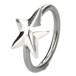 Silver & Steel Ball Closure Ring - Large Outward Star