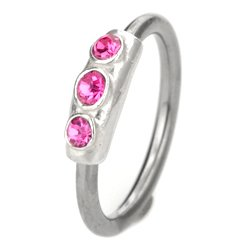 Silver & Steel Jewelled Ball Closure Ring - Pink Outward Facing