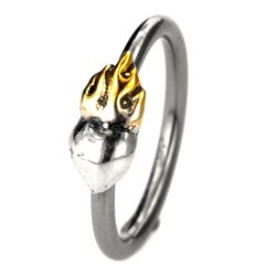 Silver & Steel Ball Closure Ring - Outward Sacred Heart