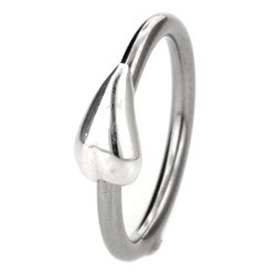 Silver & Steel Ball Closure Ring - Teardrop