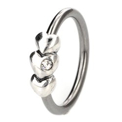 Silver & Steel Ball Closure Ring - 3 Outward Hearts