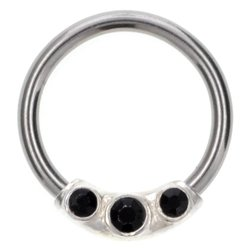 Silver & Steel Jewelled Ball Closure Ring - Black