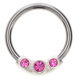 Silver & Steel Jewelled Ball Closure Ring - Pink